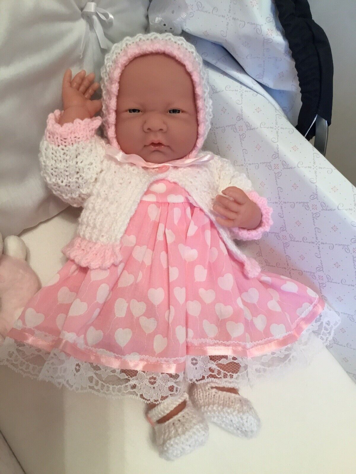 Berenguer Baby Doll With Soft Body In Dress, Jacket, Bonnet + Shoes BRAND NEW