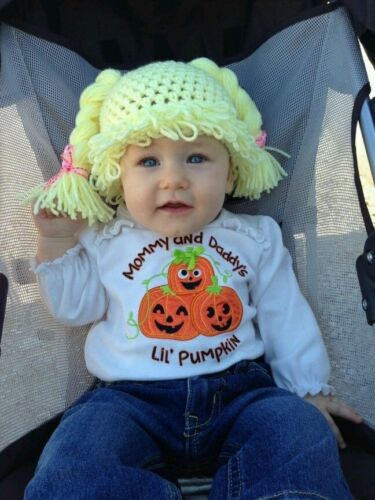 Cabbage Patch Kid Crochet Hat Wig  Purple Pigtails Infant Toddler Adult CPK