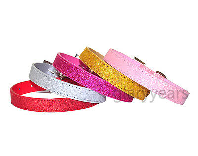 New Arrival Dog Cat Fluorescence Collars PU Leather Chic Bling Shining Buckle