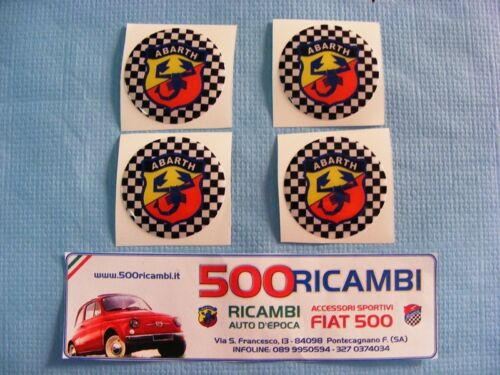 FIAT 500 F//L//R 126 KIT 4 PZ STEMMA ADESIVO PER BORCHIE RUOTA CERCHI LOGO ABARTH