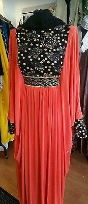 Sale! Sale! Sale! Abaya jilbab Dubai orange lycra batwing sizes, 54