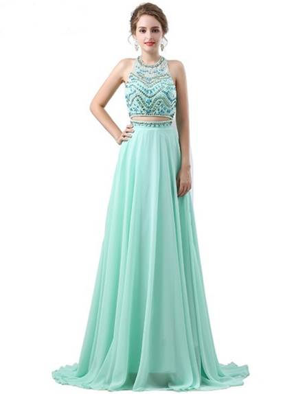 2 Piece Prom Dress Keira: a mint green color prom / homecoming / wedding dress.