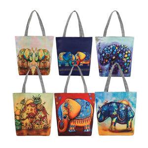 FT-Elephant-Canvas-Shopping-Casual-Womens-Single-Shoulder-Tote-Bag-Handbag-Eyef