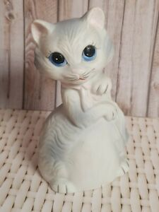 "Vintage JSNY Cat Bell Porcelain Figurine 4"" Decor Gray White Pink Blue Eye Kitty"