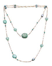 Athena- Gorgeous Turquoise Beads & Stone/Slim Gold Chain Metal Necklace(Zx261)