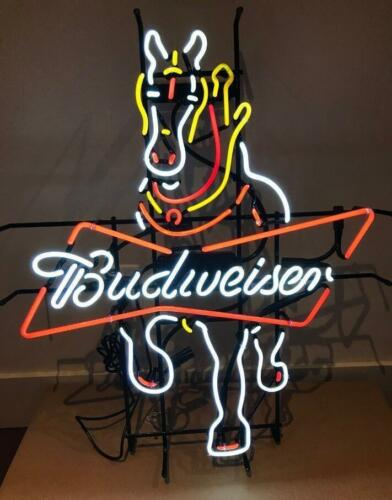 "New Budweiser Clydesdale Horse Beer Bar Light Lamp Neon Sign 24/""x20/"""