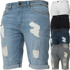 Kruze-Mens-Denim-Shorts-Stretch-Regular-Fit-Distressed-Ripped-Half-Jeans-Pants