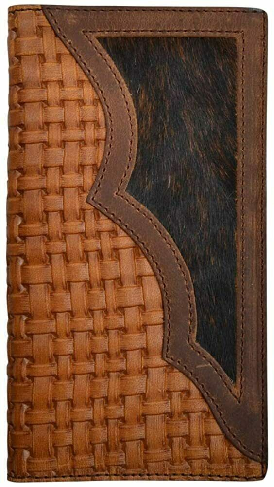 3D Belt Co Western Rodeo Leather Basket Weave Hair Inset Wallet (Brown)