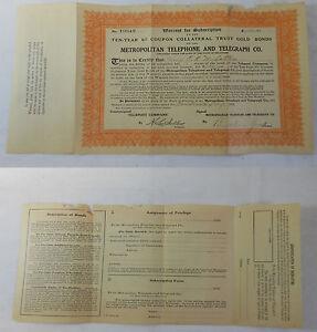 1912-METROPOLITAN-TELEPHONE-amp-TELEGRAPH-Co-STOCK-CERTIFICATE-10-Shares-obsolete
