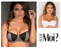 Pour Moi? Signature Underwired Padded Balcony Bra 8701 White or Black * New