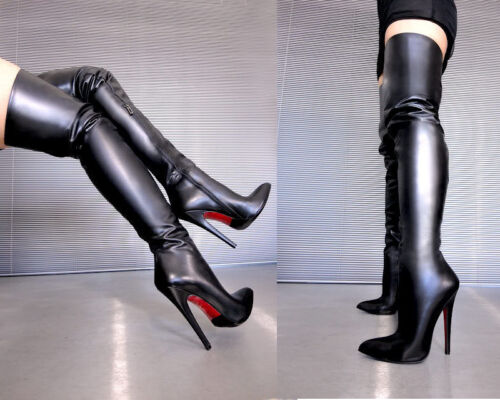 Stivali 36 Nero Stiefel Heels Couture Black Cq Overknee Boots Leather Highest qvYwUxF