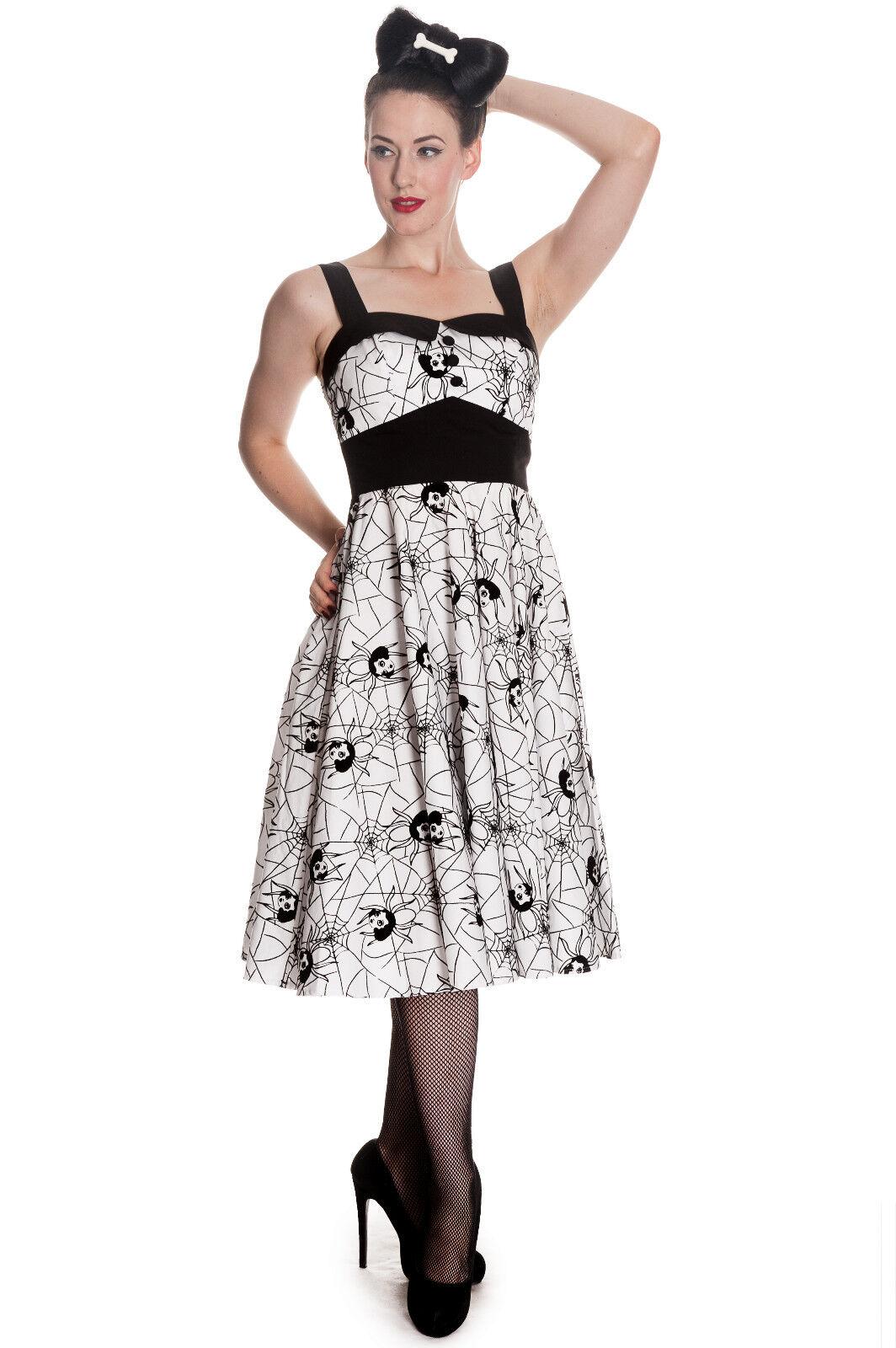 Hell Bunny Weiß schwarz Gothic Widow Spider Halloween Rockabilly Dress XS-XL
