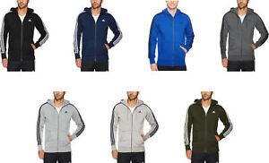 adidas Men's Essentials 3 Stripe Full Zip Fleece Hoodie