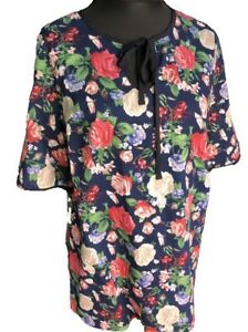 New-Plus-Size-Rose-Floral-Print-Tunic-Top-Reduced-UK-sizes-18-20-22-24-26-28-new