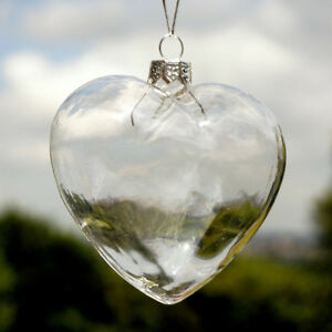 12x glass heart shaped fillable baubles christmas wedding ornaments