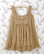 Women's Smocked Back Embroidered Top Blouse Flattering Casual XL 18/20 -Tan