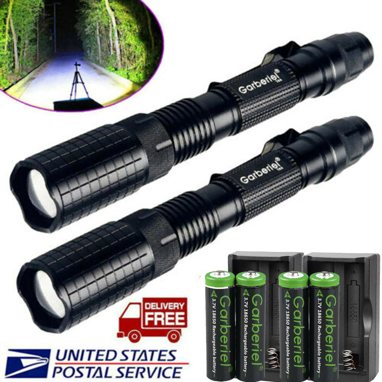 90000LM T6 Tactical Powerful LED Flashlight Torch Zoomable Camping Lamp 18650
