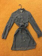NWOT Diane Von Furstenberg Blue Shirt Dress size 2 100% silk