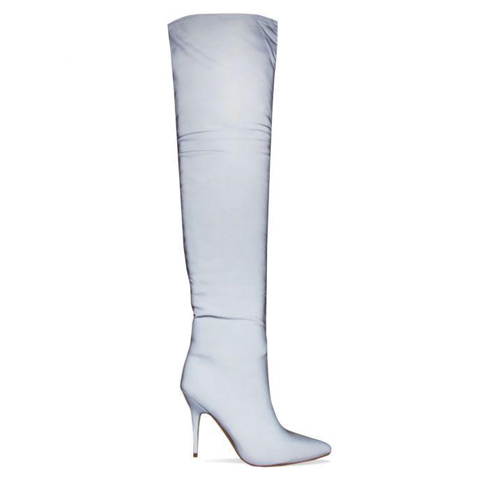 Mujeres sobre la rodilla del del del muslo elástico botas Altas Damas Tacón Alto Zapatos de tacones de aguja Reino Unido 7d59fd