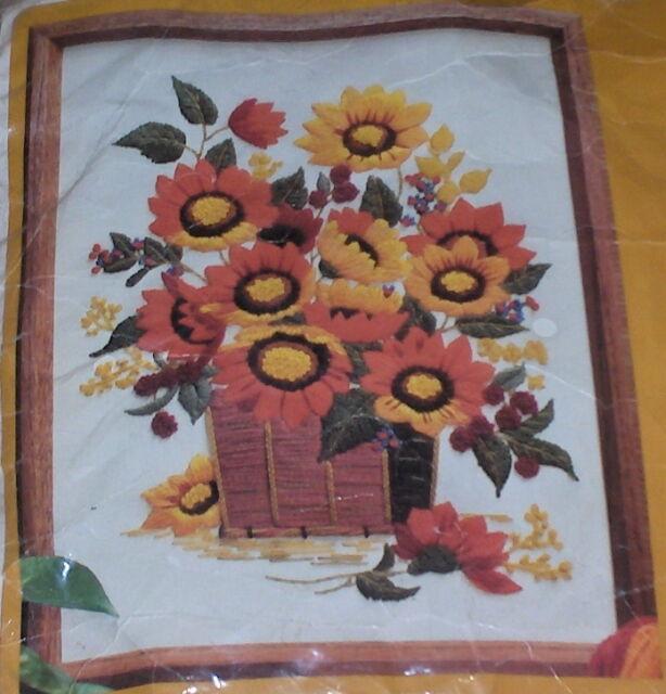 "1982 Autumn Flower Bouquet / Sunflowers Crewel Embroidery Kit 12x16"""