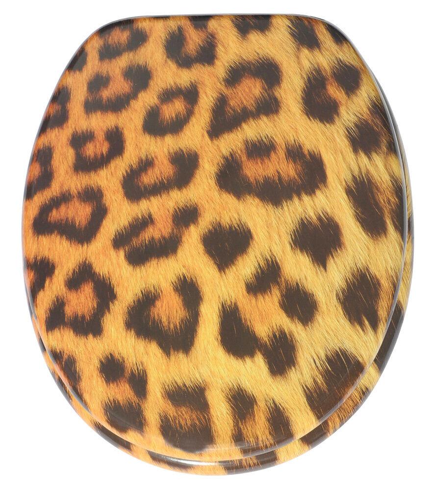 Cierre suave Impreso WC Asiento De Inodoro   estable Bisagras   lenta   Leopardo