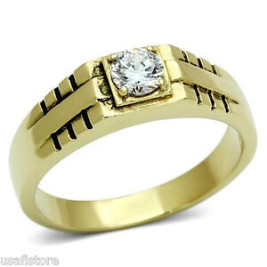 0-80ct-Clear-Round-Stones-Gold-EP-Mens-Stainless-Steel-Ring