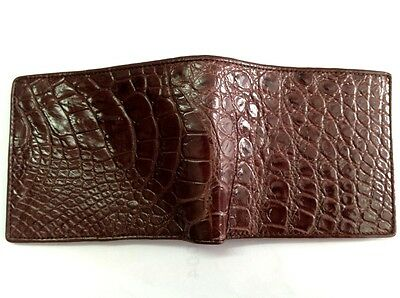 PERFECT GENUINE CROCODILE ALLIGATOR BELLY SKIN MENS BROWN WALLET
