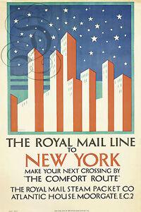 Détails sur PLAQUE ALU DECO REPRO AFFICHE THE ROYAL MAIL LINE TO NEW YORK  COMFORT ROUTE 1925