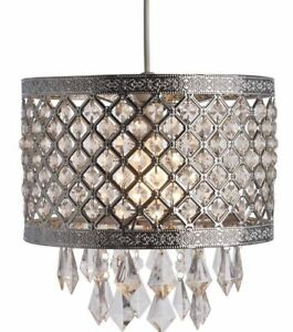Image Is Loading Silver Jewel Bling Droplet Pendant Ceiling Light Shade