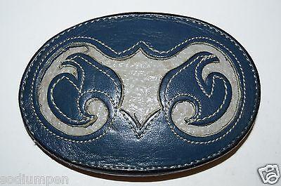 WOW Vintage Leather TONY LAMA USA Colored Ornate Western Cowboy Belt Buckle Rare