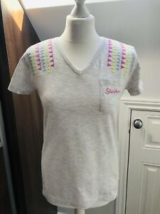 Ladies-Skechers-Grey-Cotton-Top-Short-Sleeved-T-Shirt-Size-12-M-BNWOT