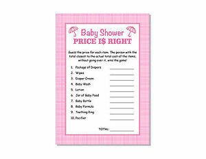 24 Baby Shower Games Girl Pink Plaid Price Is Right Cards Party Ebay