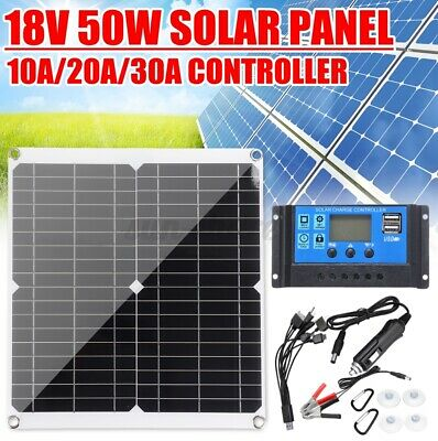 50W Solar Panel Monocrystalline Silicon Battery Charger Kit Controller
