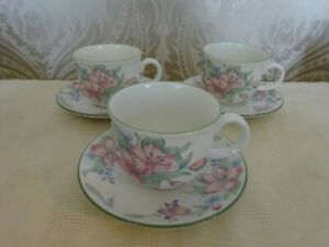 Royal-Doulton-Expressions-China-Carmel-Set-of-3-Cups-amp-Saucers