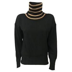 ALPHA STUDIO Damenpullover schwarz Streifen Kamel 100/% Wolle mod AD-9041H