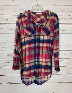 Entro Boutique Women's S Small Pink Plaid Long Sleeve Button Spring Tunic Top