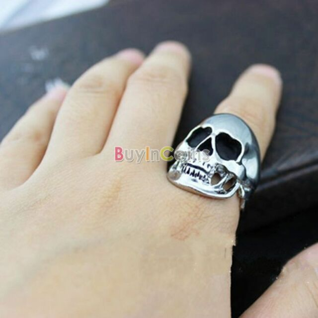 Retro Punk Rock Style Men's Skull Head Steel Finger Ring US Size 9