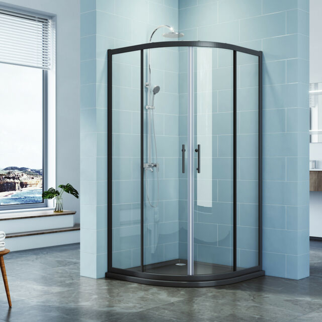 900mm Corner Sliding Glass Shower, Corner Shower Curved Glass Doors