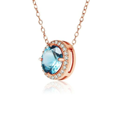 Round Halo Simulated Aquamarine /& CZ Necklace in Rose Gold Plated 925 Silver
