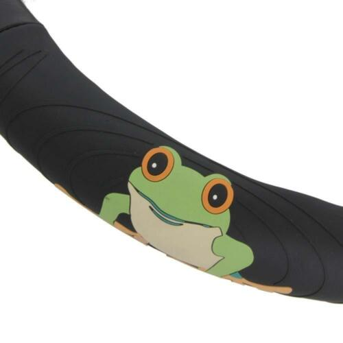 New Green Frog Logo Black Synthetic Leather Steering Wheel Cover