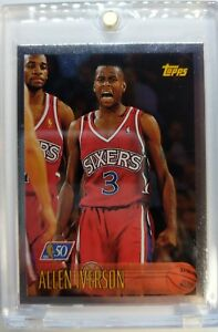 Rare-1996-96-97-Topps-NBA-at-50-Allen-Iverson-Rookie-RC-171-76ers-HOF-Foil