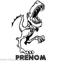 Sticker Dinosaure T-rex 30x19cm À 50x30cm + Prénom Au Choix (dino005)