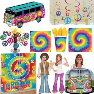 Anos 60 Decoracion De Fiesta Hippie Flower Power Peace Set Sesenta - Decoracion-hippie-fiesta