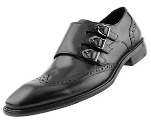 Asher-Green-Mens-Genuine-Solid-Leather-Triple-Monk-Wingtip-Oxfords-Style-AG119