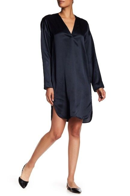 NEW Vince V-Neck Silk Tunic Dress in Navy - Größe XS