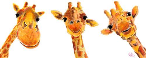 GiRaFFe Zoo PRiNTS BoX CANVAS CoW ART LARGE XL of Original Painting 'FRieNDS !'