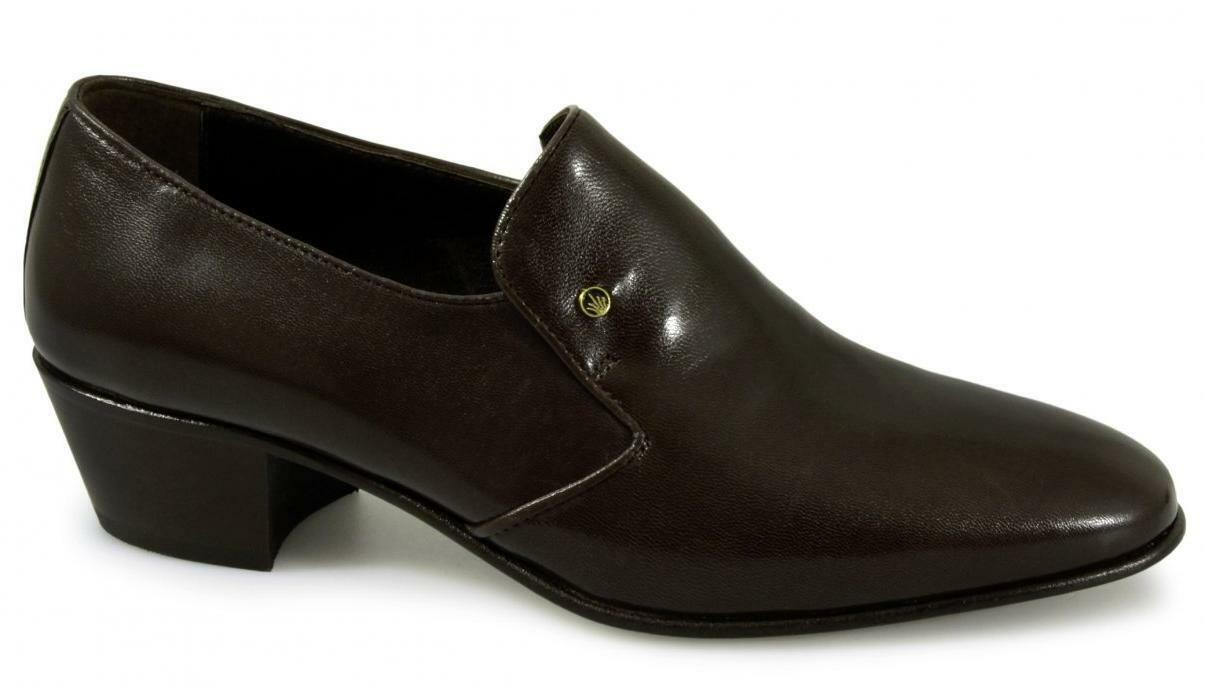 Mens NASSER Hand Made Spanish Soft Leder Plain Cuban Heel Schuhes Braun