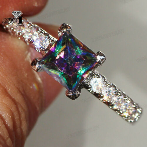 Princess cut 4.2 CT Mulit Sapphire Gemstone 925 Silver Filled Wedding Party Ring