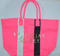 VICTORIA'S SECRET PINK BLACK WHITE CANVAS TOTE BEACH BAG PURSE LARGE SWIM CUTE