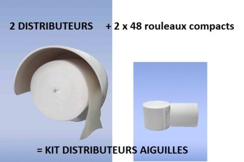 Kit de 2 distributeurs aiguille WC 96 Rouleaux 500 feuilles sans mandrin